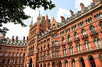 The exterior view of St Pancras railway station, London, England, UK