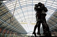 Statue inside of St Pancras railway station, London, England, UK
