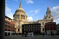 The view of St. Paul's Cathedral from Paternoster Square. London. England. United Kingdom.