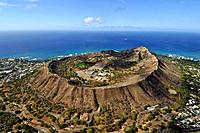 Aerial view of Diamond Head volcanic crater, Oahu, Hawaii, USA.