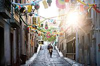 Streets of Bairro Alto, Lisbon, Portugal, Europe.