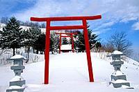 JAPAN, HOKKAIDO IS., SHIRETOKO PENINSULA, NEAR RAUSU, SMALL SHINTO SHRINE.