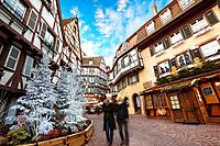 City center with Christmas decoration. Colmar. Wine route. Haut-Rhin. Alsace. France.