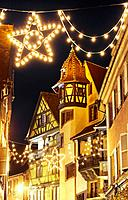 Maison Pfister (German Reinaissance) with Christmas lights at night. Colmar. Wine route. Haut-Rhin. Alsace. France.