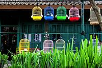 Bird Cages on the Bird Market in Yogyakarta in Indonesia.