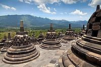 Stupas of the Borobudur Temple in IndonesiaStupas of the Borobudur Temple in Indonesia.