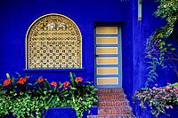 MOROCCO, MARRAKECH, JARDIN MENARA,YVES SAINT LAURENT GARDEN,BLUE HOUSE,DOOR & WINDOW.