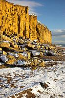 Rare occurance of Snow on the Beach at Burton Bradstock it rarely seen because the heat from the Sea which is warmer than the land melts it quickly Do...