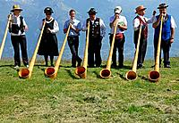 alphorn players, Nendaz, Valais, Switzerland.