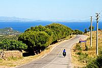 Highway descending to Agean Sea near Assos, Biga Peninsula, Turkey