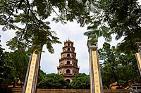 VIETNAM, HUE, THIEN MU PAGODA (HEAVENLY LADY PAGODA).