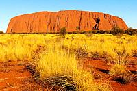 Rock formations on landscape, Uluru, Uluru-Kata Tjuta National Park, Northern Territory, Australia, Oceania.