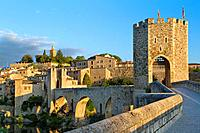Medieval Bridge (11th Century), in Besalu, a medieval village declarated Historical-Artistic Site, ubicated in La Garrotxa, Girona province. Catalonia...