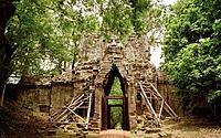West Gate at Angkor Thom of The Temples of Angkor at Siem Reap in Cambodia in Southeast Asia Far East.