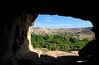 View toward Yaprakhisar from the entrance to the Selime Monastery. Cappadocia, Central Anatolia, Turkey.