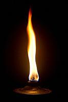Garden torch burning.