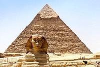 The Great Sphinx and Pyramid of Khafre, also known as Pyramid of Chephren, Giza, Cairo, Egypt.