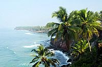 Palm-fringed beach in Varkala, Kerala, Indian Subcontinent.