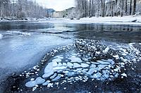 Ice bubbles and frost along the Birkenhead river near Pemberton, Coast Mountains British Columbia.