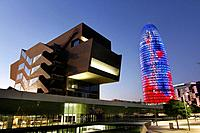 Building Design Hub Barcelona, by MBM architects. Agbar Tower, by Jean Nouvel. Barcelona.