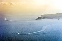Principality of Monaco, Monte Carlo. Sunset on the Mediterranean sea.