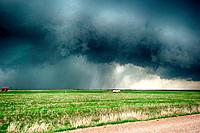 Supercell thunderstorm turns the four o'clock sunshine to darkness on April 17 2013 in the centre of Lawton, Oklahoma THis storm covered 1000 square m...