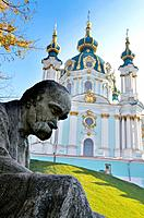 Taras Shevchenko monument, Saint Andrew´s Church, Andrews Descent, Podil, Kiev, Ukraine.