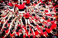 Tarragona, Spain, Contest Castellers (human towers). The castellers are UNESCO World Heritage.