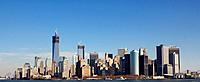 Skyline of New York City at the Southern tip of Manhattan with the new World Trade Center under construction in Fall 2012.