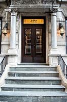 Front door of an apartment building, Sutton Place, Midtown Manhattan, New York City.