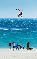 Kitesurfing in Tarifa, Costa de la Luz, Cadiz, Andalusia, Spain.