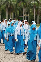 Muslim Schoolgirls on the Merdeka Aquare in Jakarta, Indonesia.