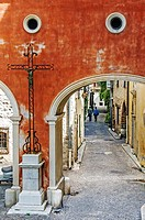 Europe, France, Alpes-Maritimes, Antibes. Alley in an old town.