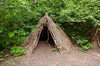 Stone age hunters gatherers encampment in Biskupin archaeological site.