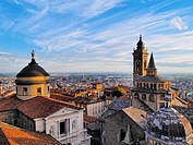 Bergamo, view from city hall tower, Lombardy, Italy.