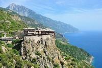 Greece, Chalkidiki, Mount Athos peninsula, listed as World Heritage, Simonos Petra monastery and Mount Athos (2033 m).