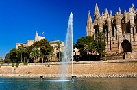 Cathedral of Santa Maria of Palma, more commonly referred to as La Seu, Palma de Mallorca, Majorca, Balearic Islands, Spain.