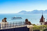 Europe, France, Alpes-Maritimes, Cannes. Cruise ship in a bay of Cannes.