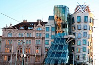 The dancing house at sunset, Prague, Czech Republic.