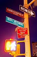 Road signs, West Village, Greenwich Avenue, Lower Manhattan, New York City, New York, USA.