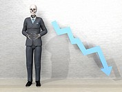 The economic downfall. A dead business man with a downturn graph arrow.