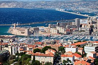 Top view above the city of Marseille, Bouches du Rhône, 13, Paca, France