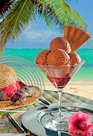 An ice cream sundae with chocolate ice cream filled before backdrop of tropical beach.