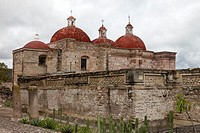 Church of San Pablo and archaeological constructions at Mitla, Oaxaca, Mexico.