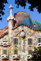 The exterior of Casa Batllo in Barcelon, Spain. Designed by reknowned architect Antoni Gaudi, ...
