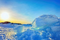 Ice and sun in Greenland in spring time.