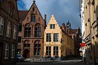 Street view. Bruges, West Flanders, Belgium.