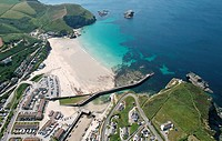 Aerial of Portreath, Cornwall, UK.