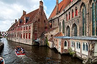 The Djiver canal in Bruges, West Flanders, Belgium.