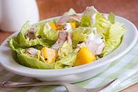 Delicious leaf salad with chicken, mango and Greek yogurt.